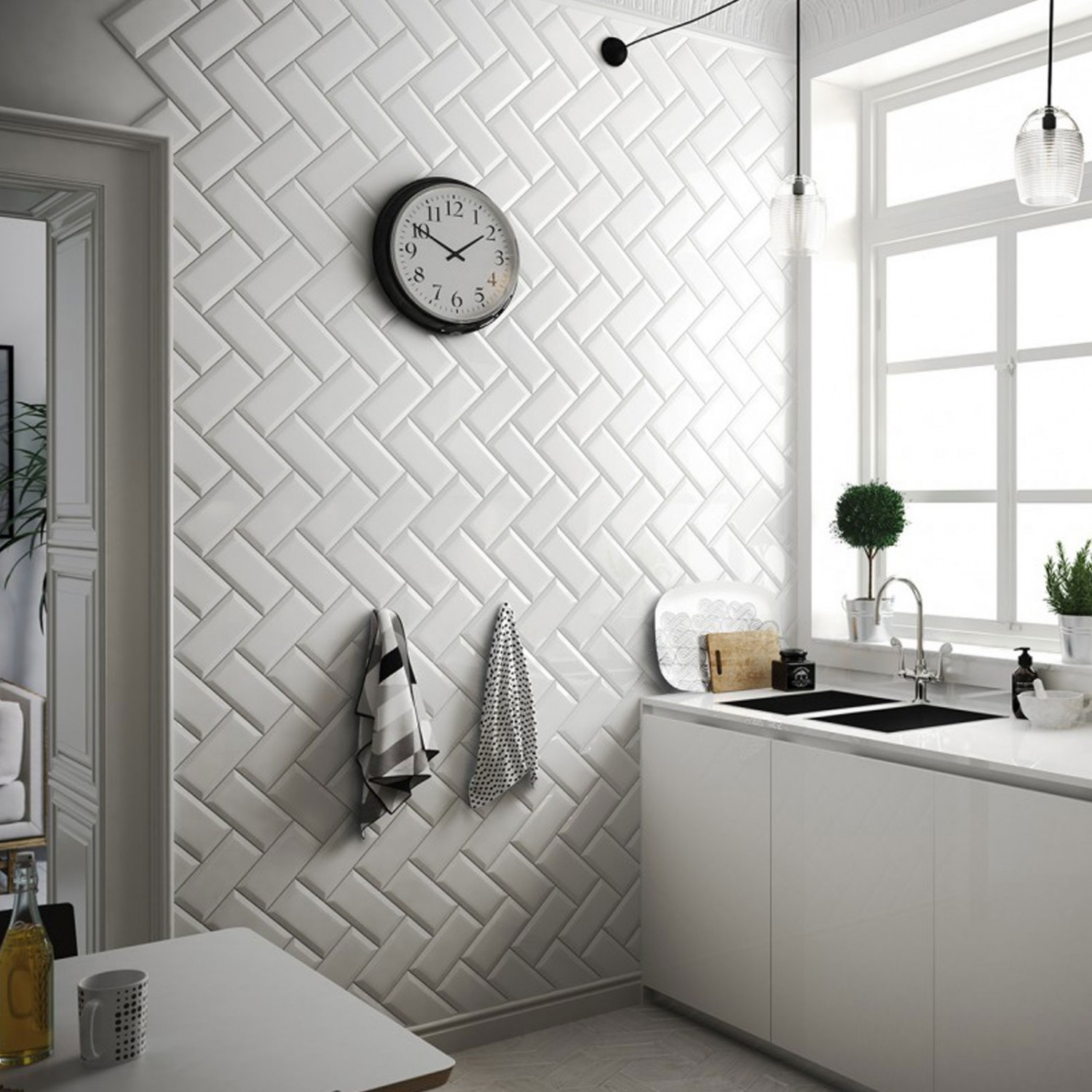 Commercial Kitchen Wall Tile: Kitchen Walls : CT Bisel Blanco
